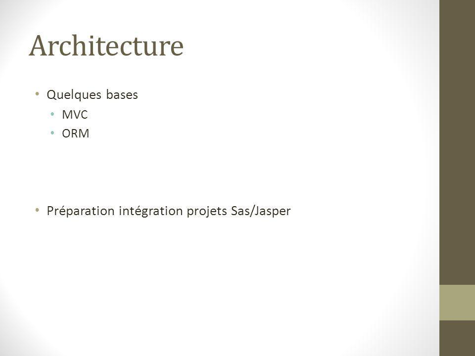Architecture Quelques bases Préparation intégration projets Sas/Jasper