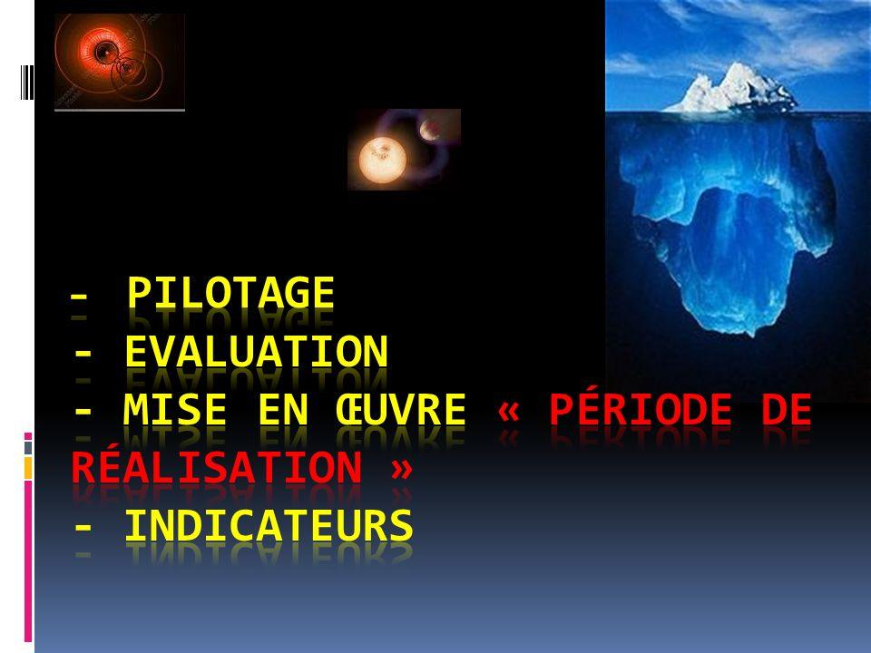 - Pilotage - Evaluation - Mise en œuvre « période de réalisation » - Indicateurs
