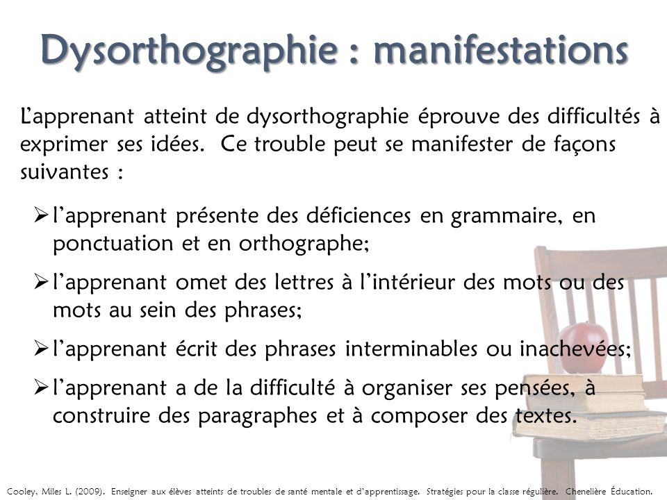Dysorthographie : manifestations