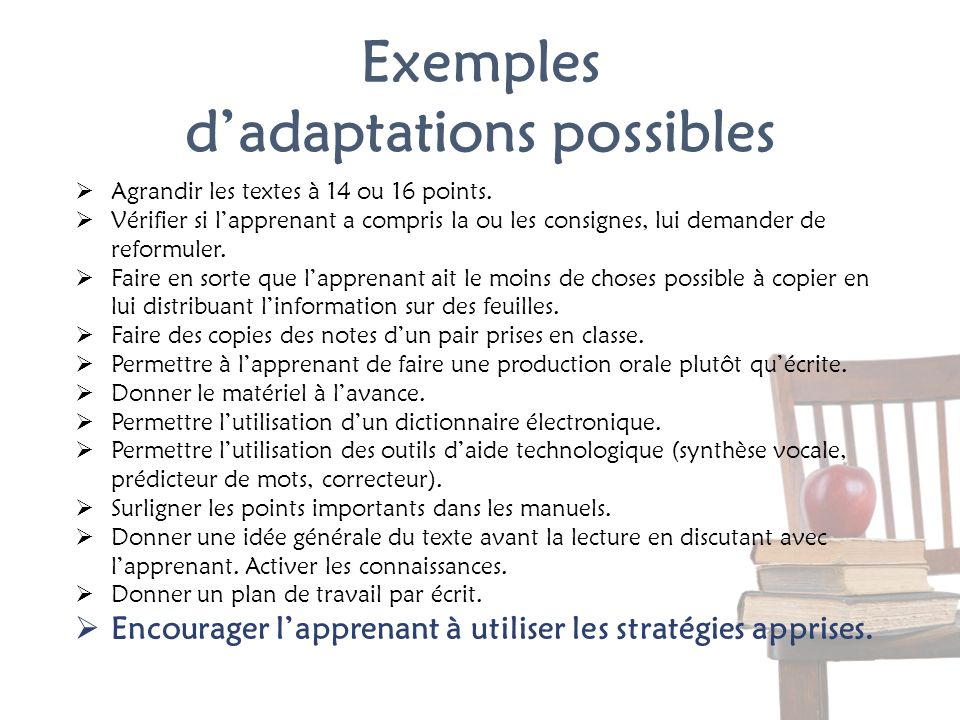 Exemples d'adaptations possibles