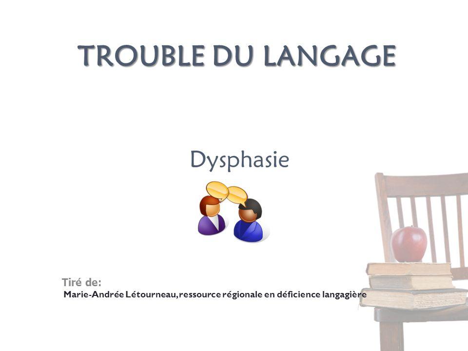 Trouble du langage Dysphasie Tiré de: