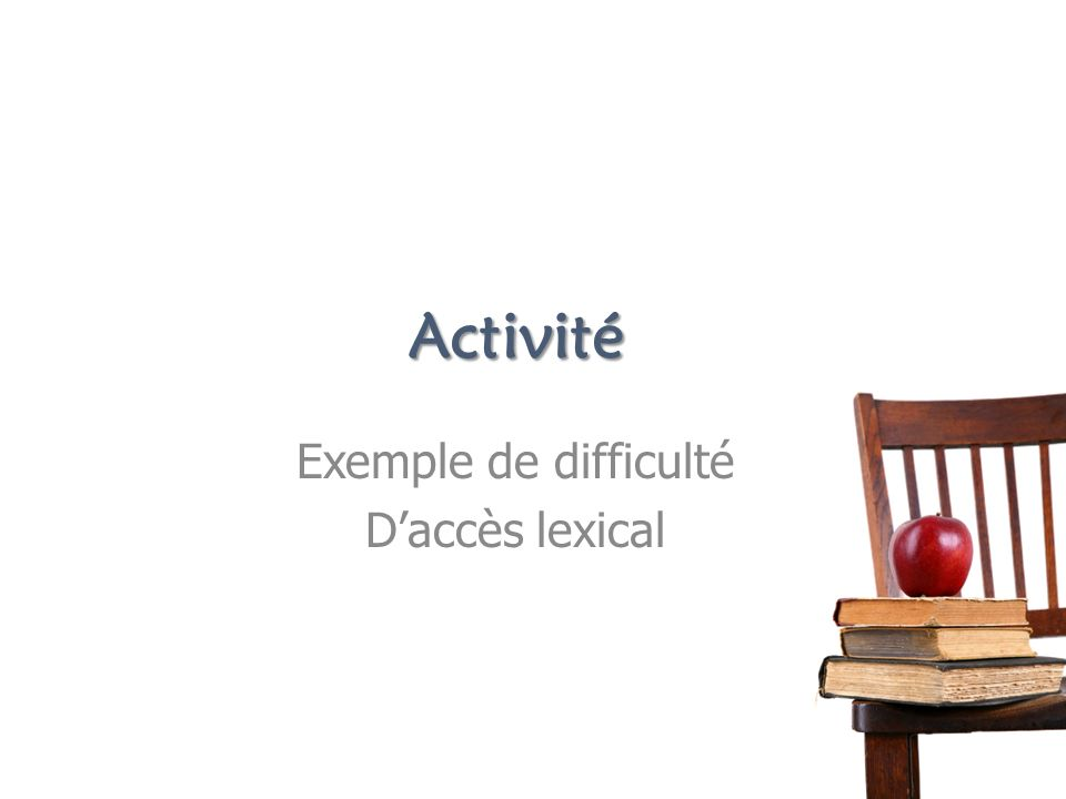 Exemple de difficulté D'accès lexical
