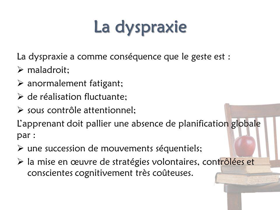 La dyspraxie La dyspraxie a comme conséquence que le geste est :