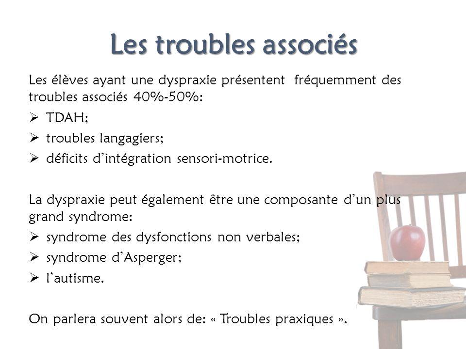 Les troubles associés Les élèves ayant une dyspraxie présentent fréquemment des troubles associés 40%-50%: