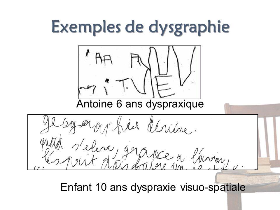 Exemples de dysgraphie