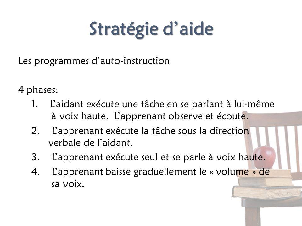 Stratégie d'aide Les programmes d'auto-instruction 4 phases: