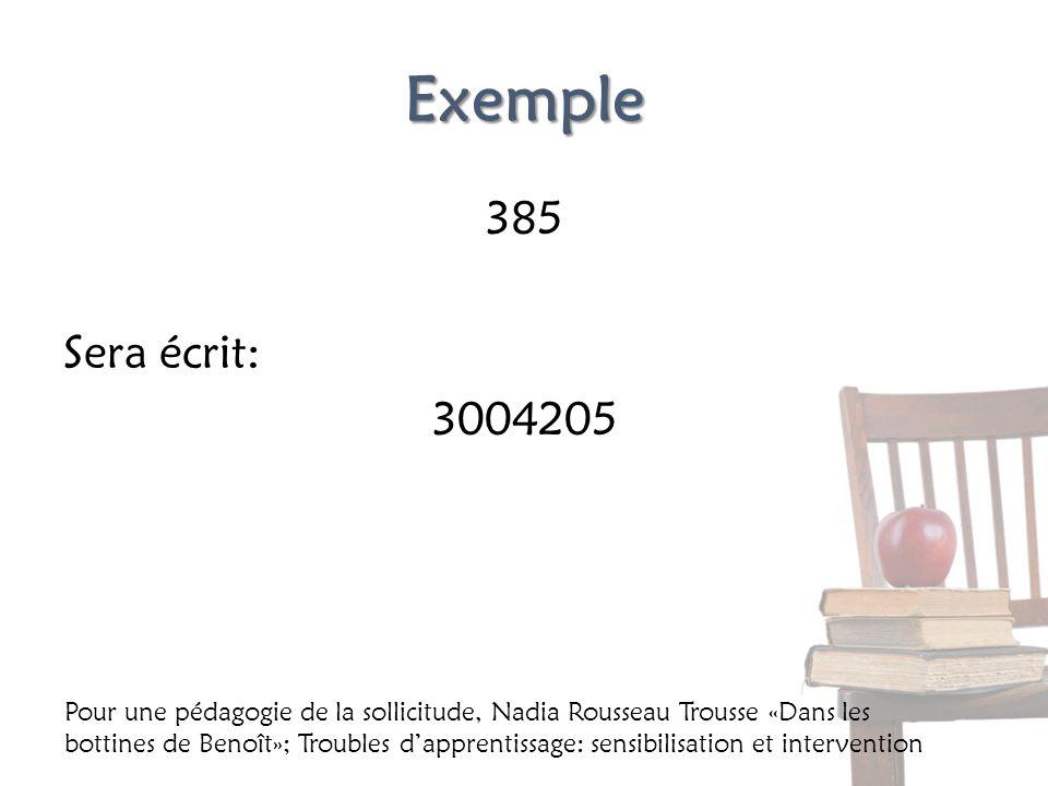 Exemple 385 Sera écrit: 3004205