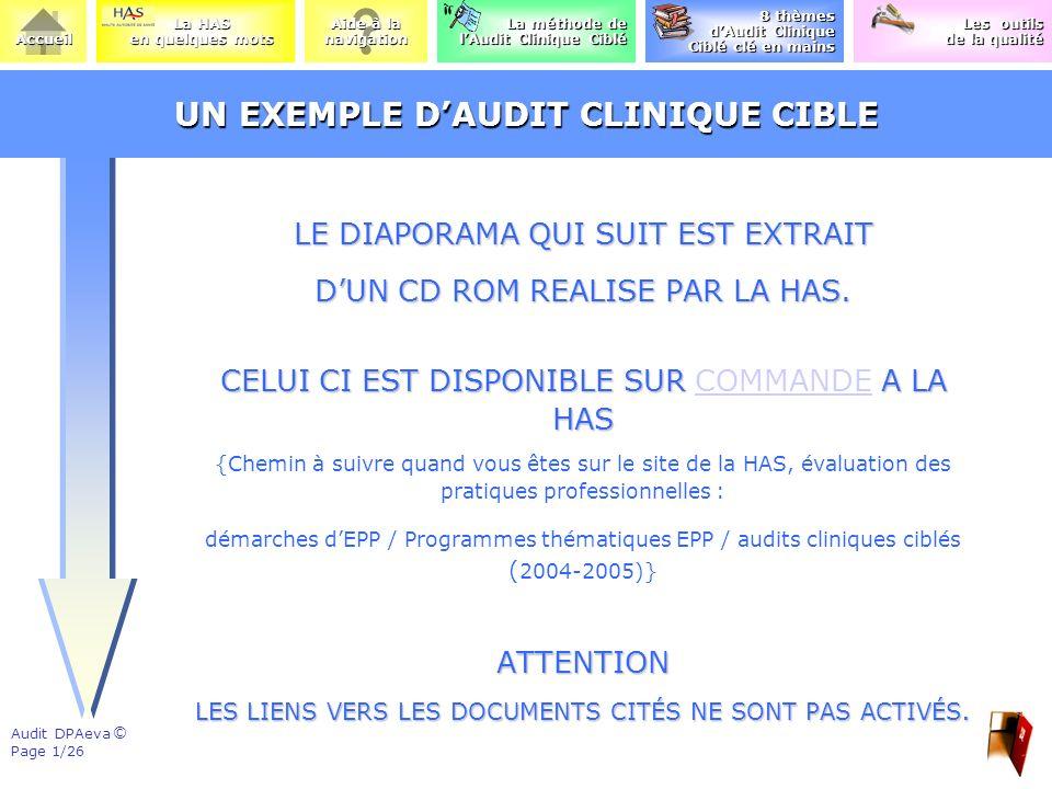 UN EXEMPLE D'AUDIT CLINIQUE CIBLE
