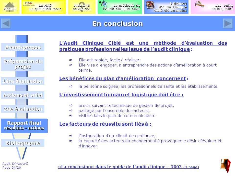 «La conclusion» dans le guide de l'audit clinique – 2003 (1 page)