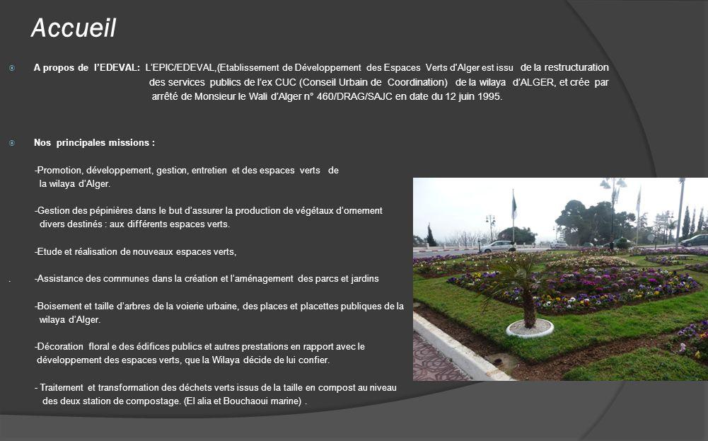 Accueil A propos de l'EDEVAL: L'EPIC/EDEVAL,(Etablissement de Développement des Espaces Verts d Alger est issu de la restructuration.