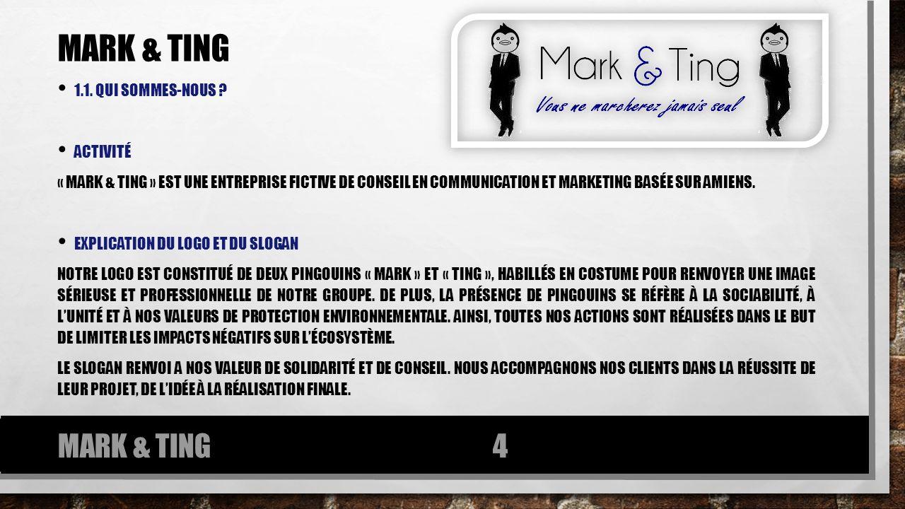 Mark & ting MARK & TING 1.1. qui sommes-nous Activité