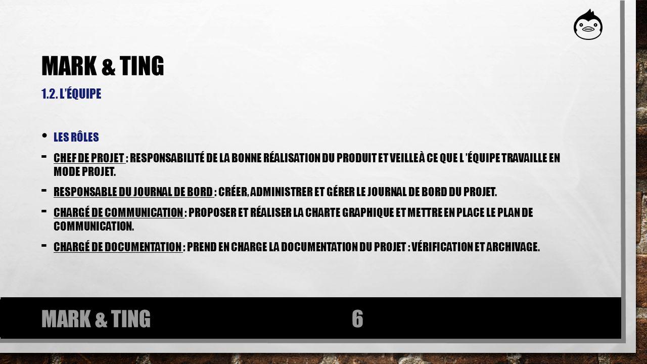 Mark & ting MARK & TING 1.2. l'équipe Les rôles