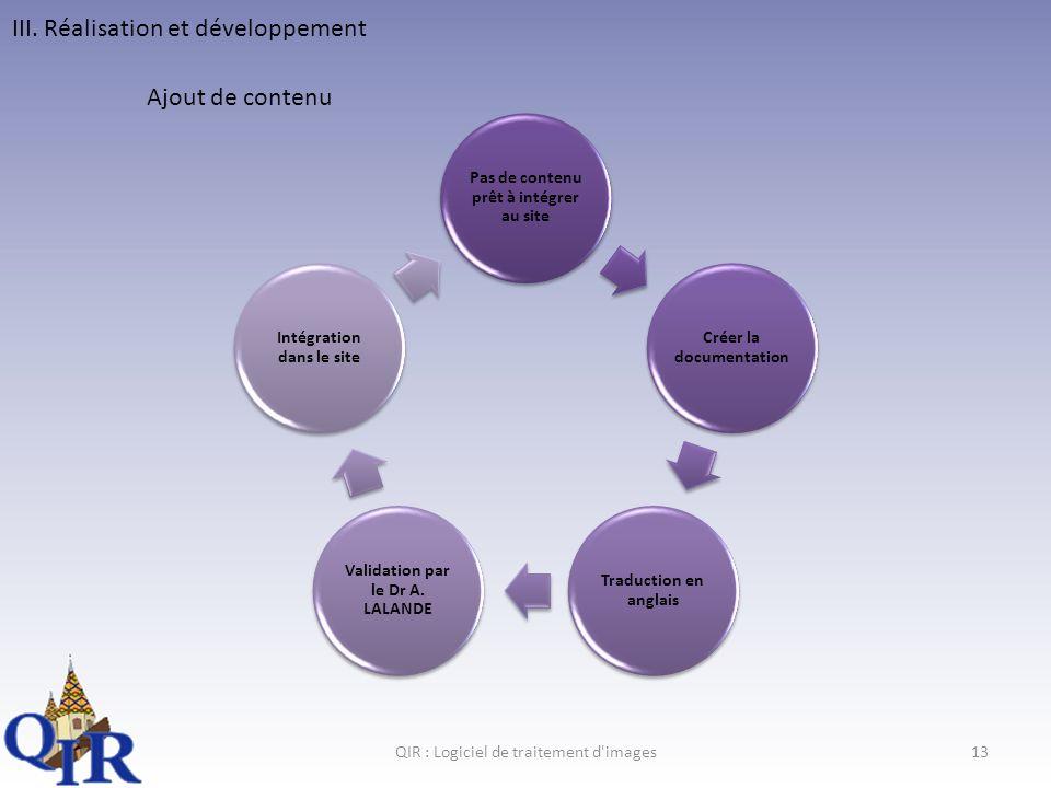 III. Réalisation et développement