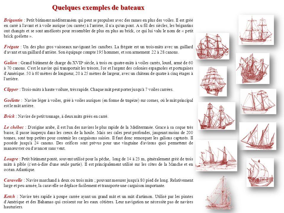 Quelques exemples de bateaux
