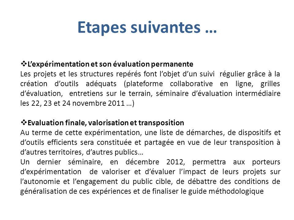Etapes suivantes … L'expérimentation et son évaluation permanente