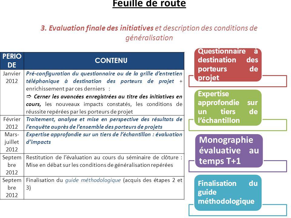 Feuille de route 3. Evaluation finale des initiatives et description des conditions de généralisation