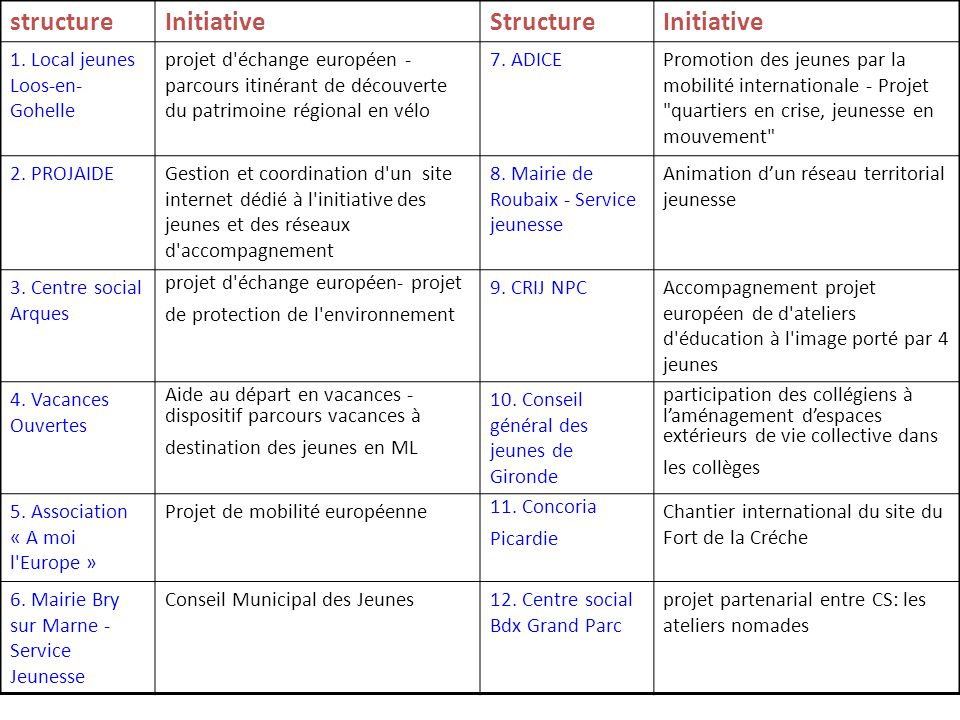 structure Initiative Structure 1. Local jeunes Loos-en-Gohelle