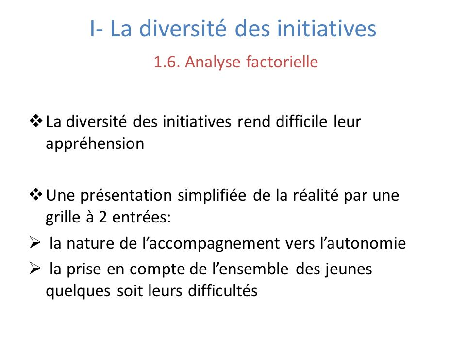 I- La diversité des initiatives 1.6. Analyse factorielle