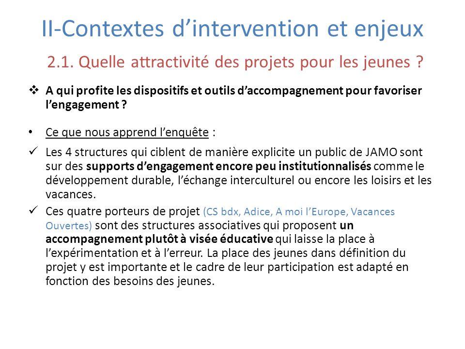II-Contextes d'intervention et enjeux 2. 1