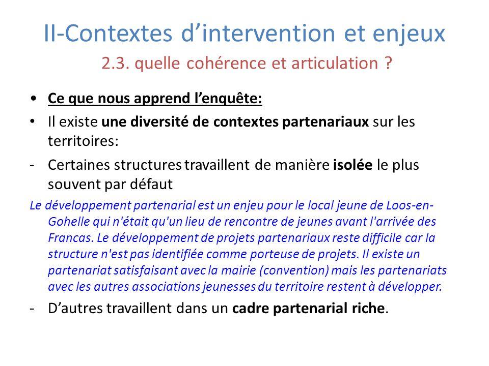 II-Contextes d'intervention et enjeux 2. 3