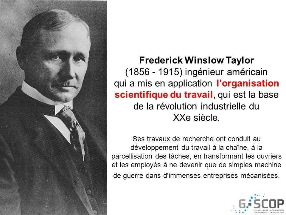 Frederick Winslow Taylor (1856 - 1915) ingénieur américain