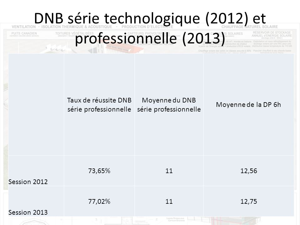 DNB série technologique (2012) et professionnelle (2013)