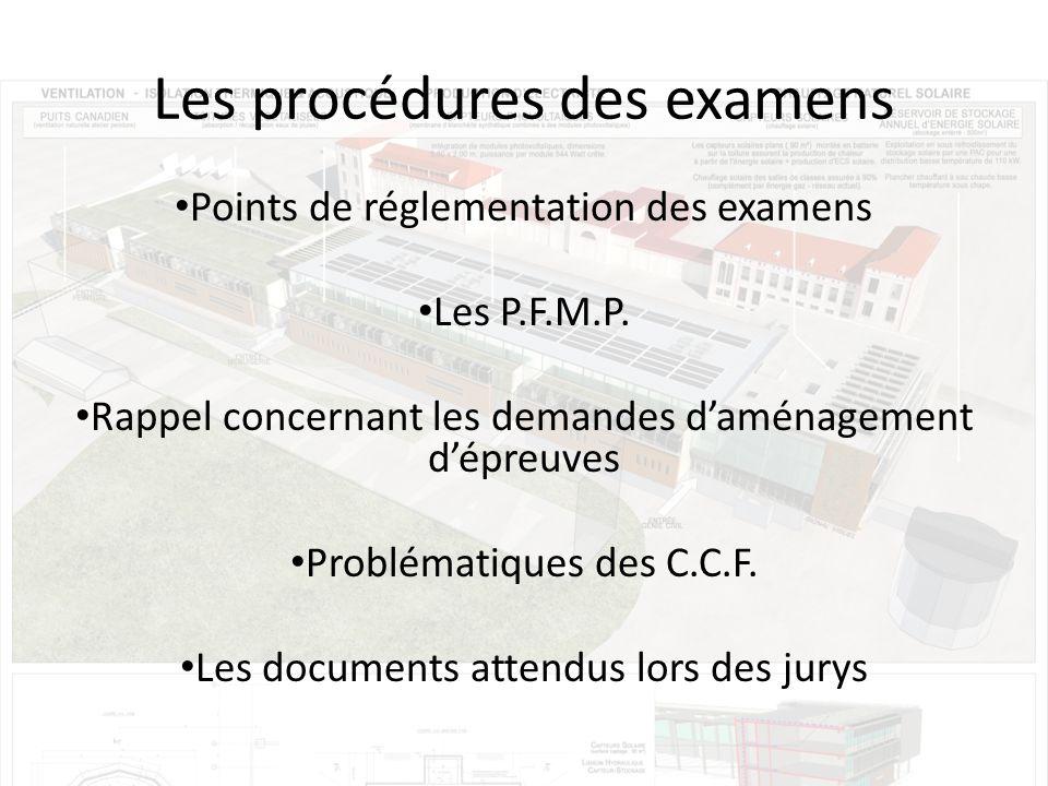 Les procédures des examens