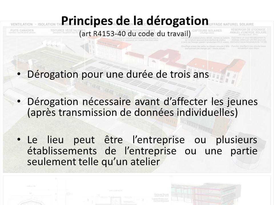 Principes de la dérogation (art R4153-40 du code du travail)