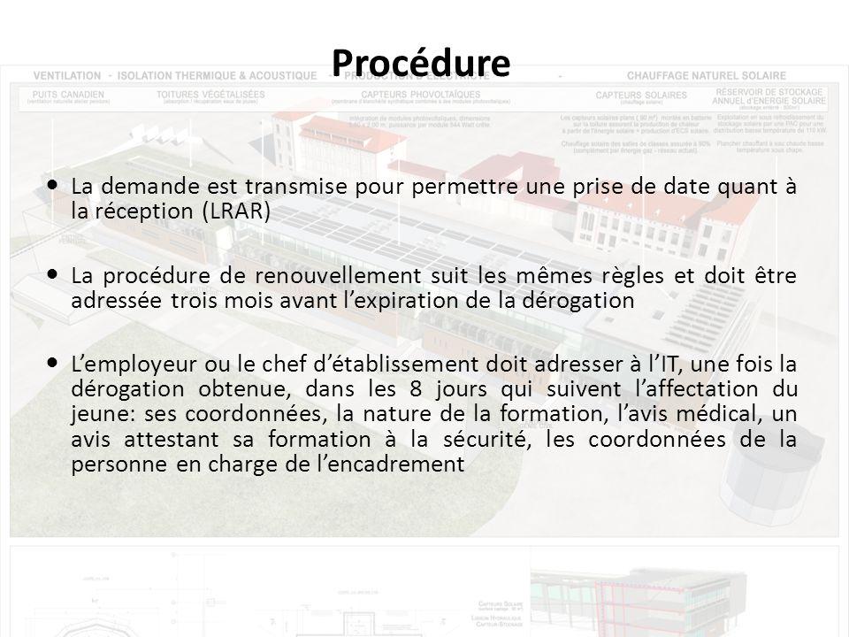 Procédure La demande est transmise pour permettre une prise de date quant à la réception (LRAR)