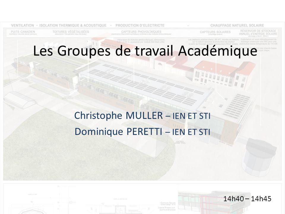 Les Groupes de travail Académique