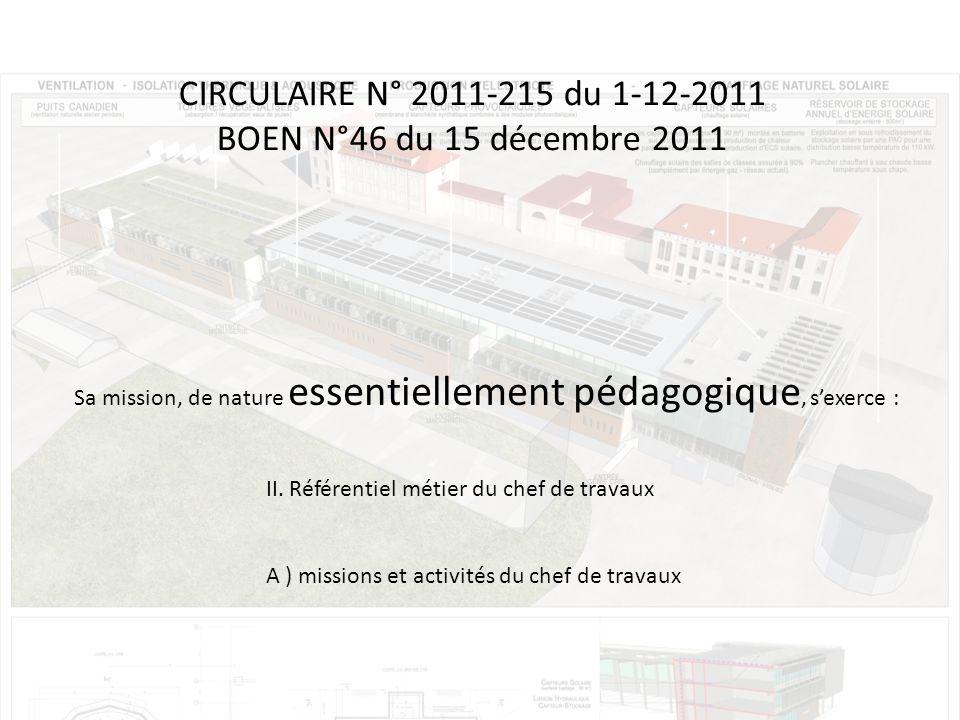 CIRCULAIRE N° 2011-215 du 1-12-2011 BOEN N°46 du 15 décembre 2011