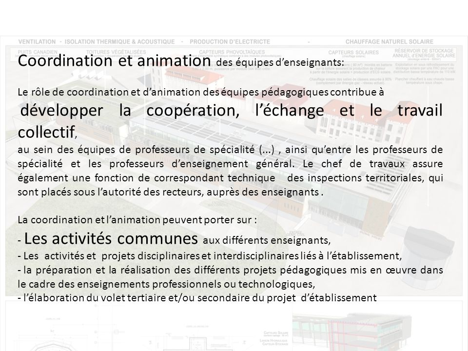 Coordination et animation des équipes d'enseignants: