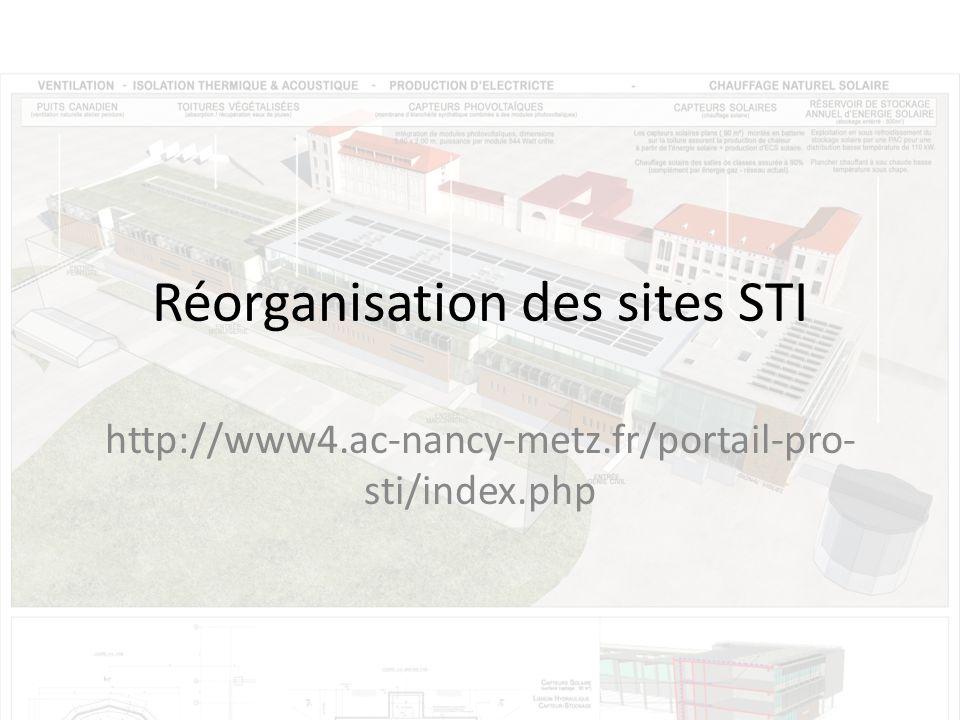 Réorganisation des sites STI