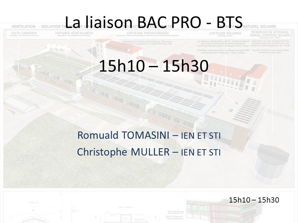 La liaison BAC PRO - BTS 15h10 – 15h30