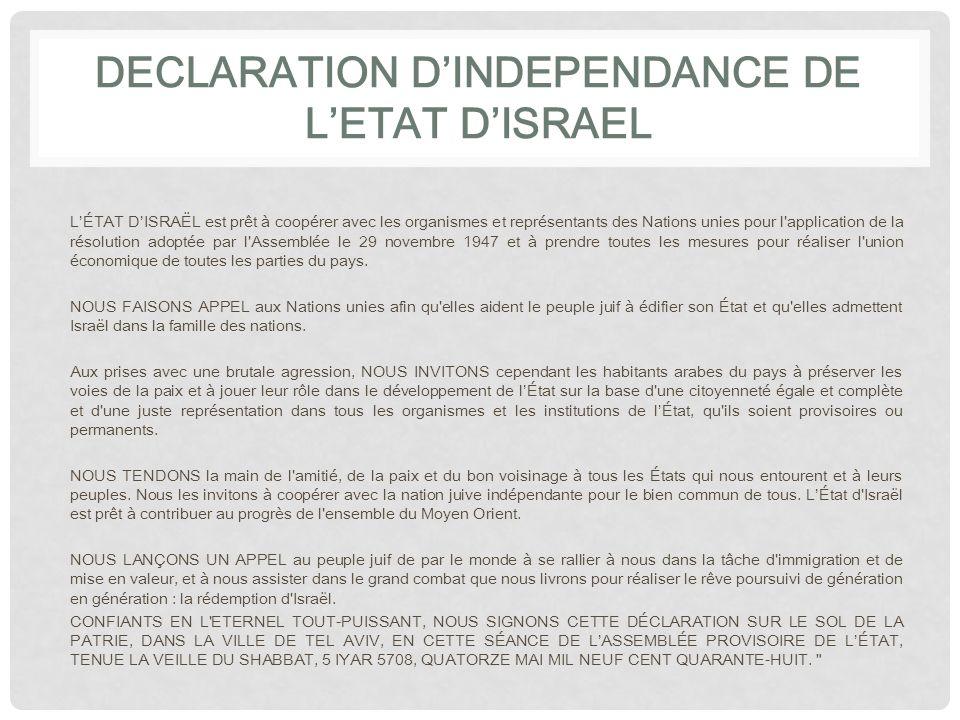 DECLARATION D'INDEPENDANCE DE L'ETAT D'ISRAEL