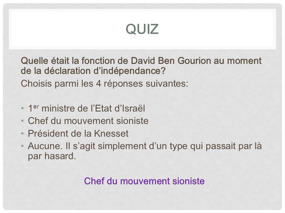 QUIZ Quelle était la fonction de David Ben Gourion au moment de la déclaration d'indépendance Choisis parmi les 4 réponses suivantes: