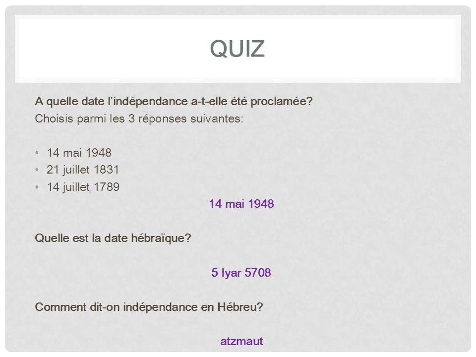 qUIZ A quelle date l'indépendance a-t-elle été proclamée