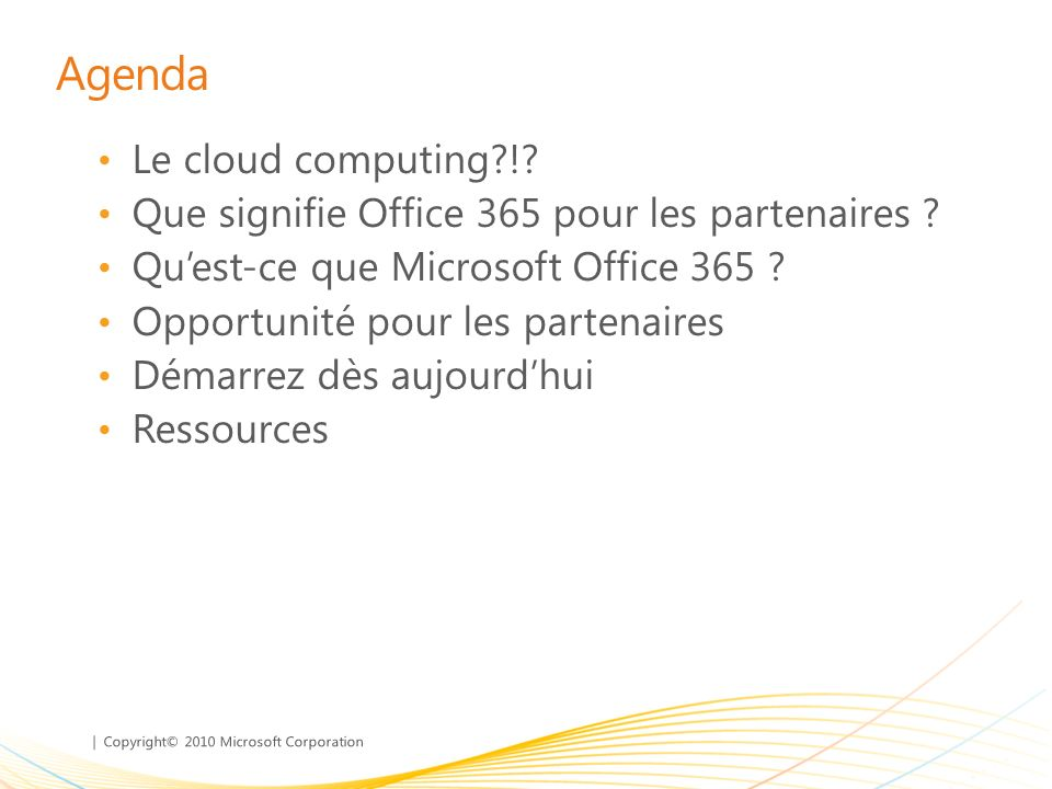 Agenda Le cloud computing !
