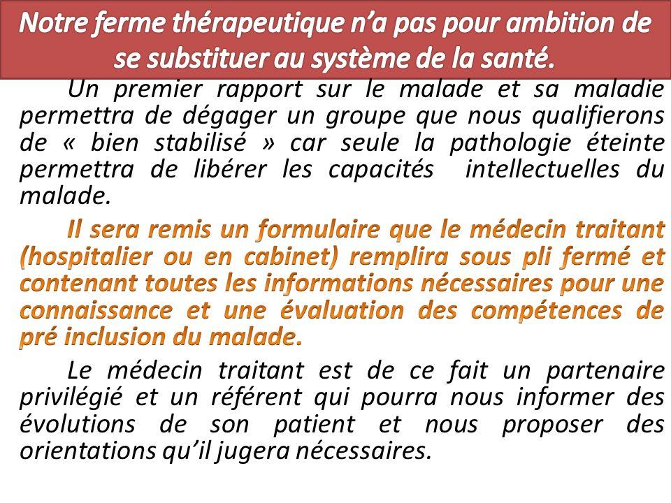 Notre ferme thérapeutique n'a pas pour ambition de se substituer au système de la santé.