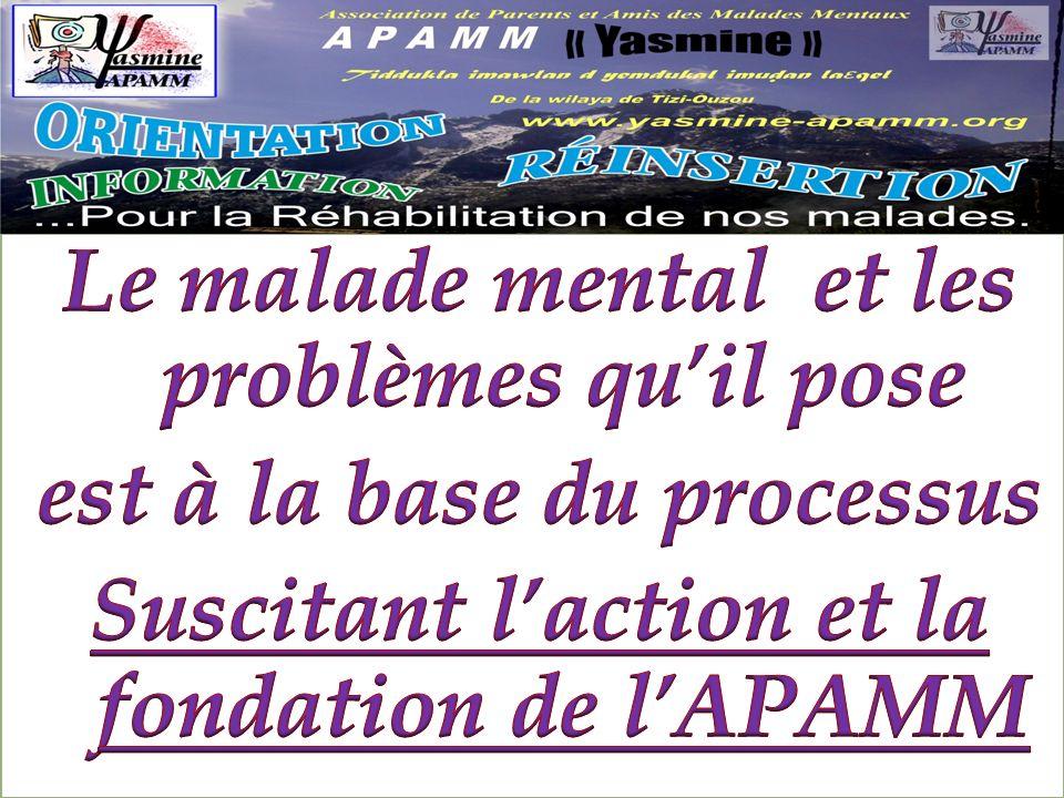 Le malade mental et les problèmes qu'il pose est à la base du processus Suscitant l'action et la fondation de l'APAMM