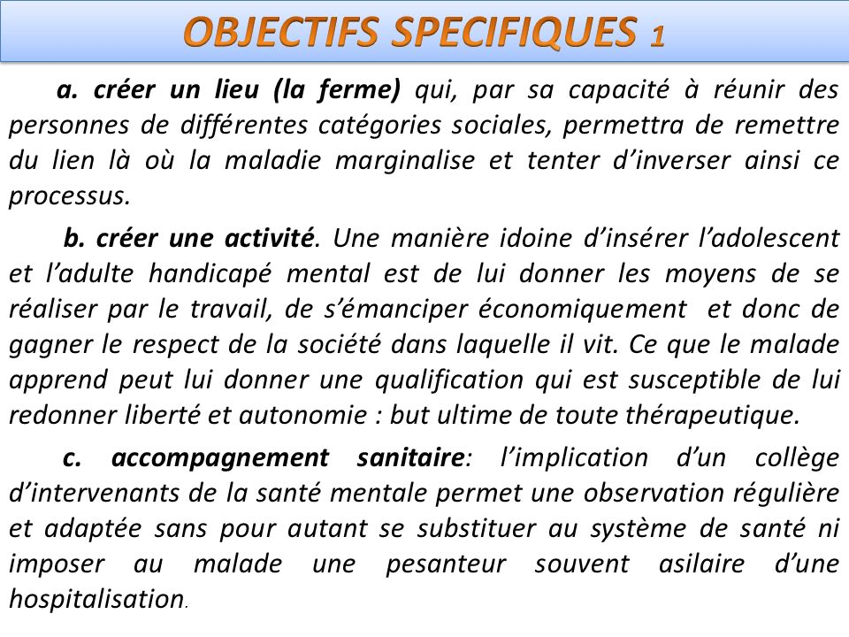 OBJECTIFS SPECIFIQUES 1