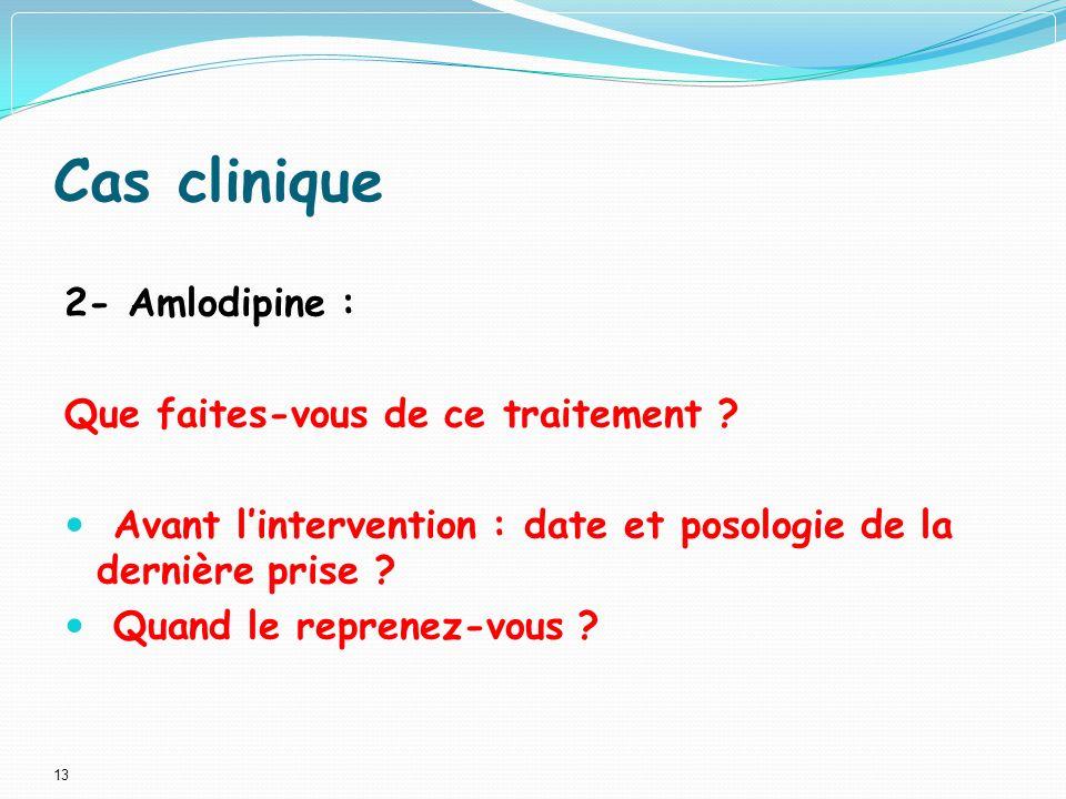 Cas clinique 2- Amlodipine : Que faites-vous de ce traitement