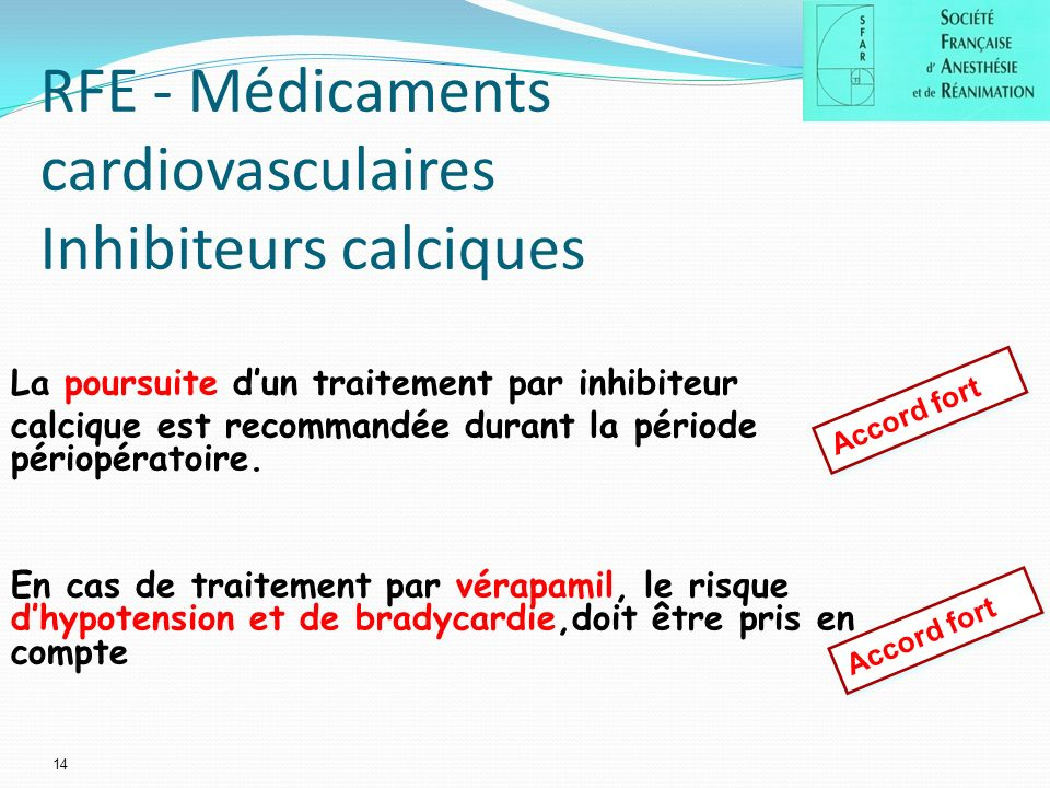 RFE - Médicaments cardiovasculaires Inhibiteurs calciques