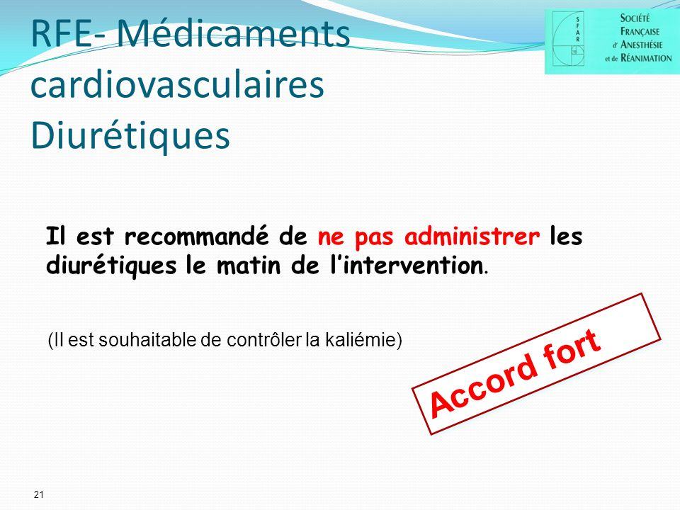 RFE- Médicaments cardiovasculaires Diurétiques