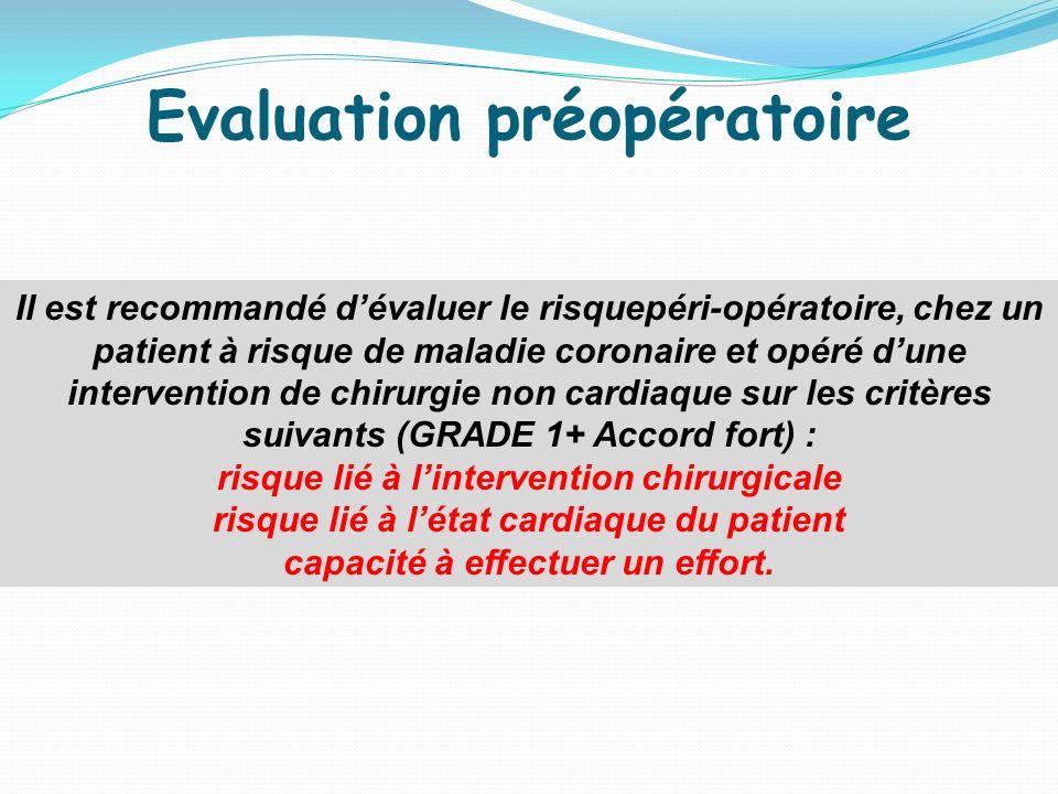 Evaluation préopératoire capacité à effectuer un effort.