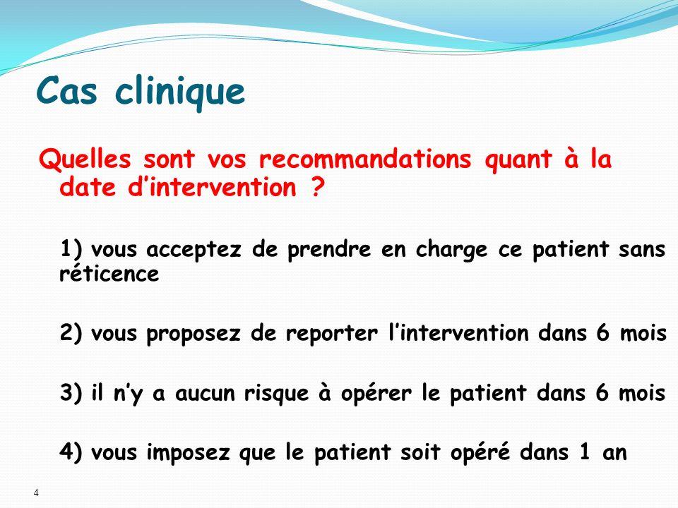 Cas clinique Quelles sont vos recommandations quant à la date d'intervention 1) vous acceptez de prendre en charge ce patient sans réticence.