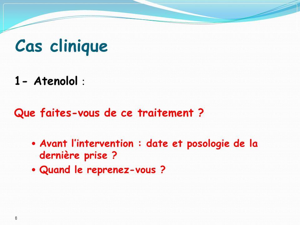 Cas clinique 1- Atenolol : Que faites-vous de ce traitement