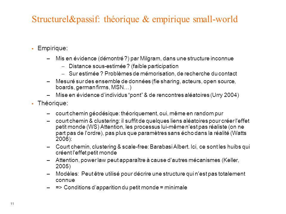 Structurel&passif: théorique & empirique small-world