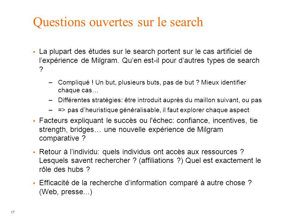 Questions ouvertes sur le search