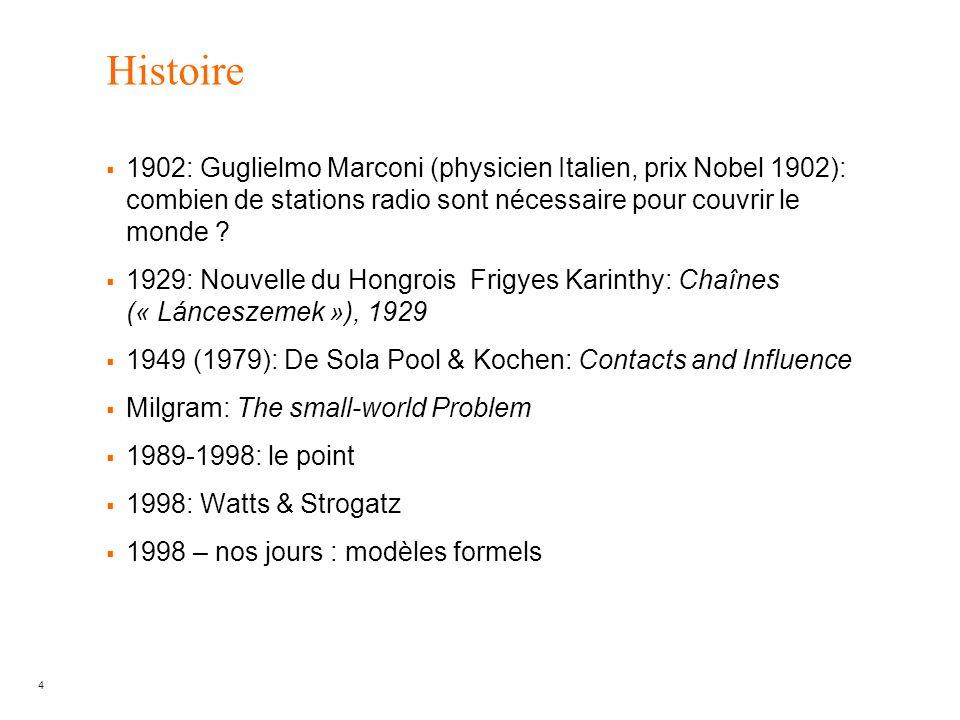 Histoire 1902: Guglielmo Marconi (physicien Italien, prix Nobel 1902): combien de stations radio sont nécessaire pour couvrir le monde